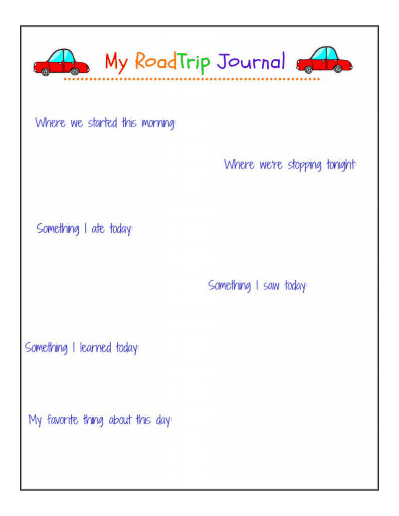 Road Trip Journal Pages Free Printable Peace But Not Quiet