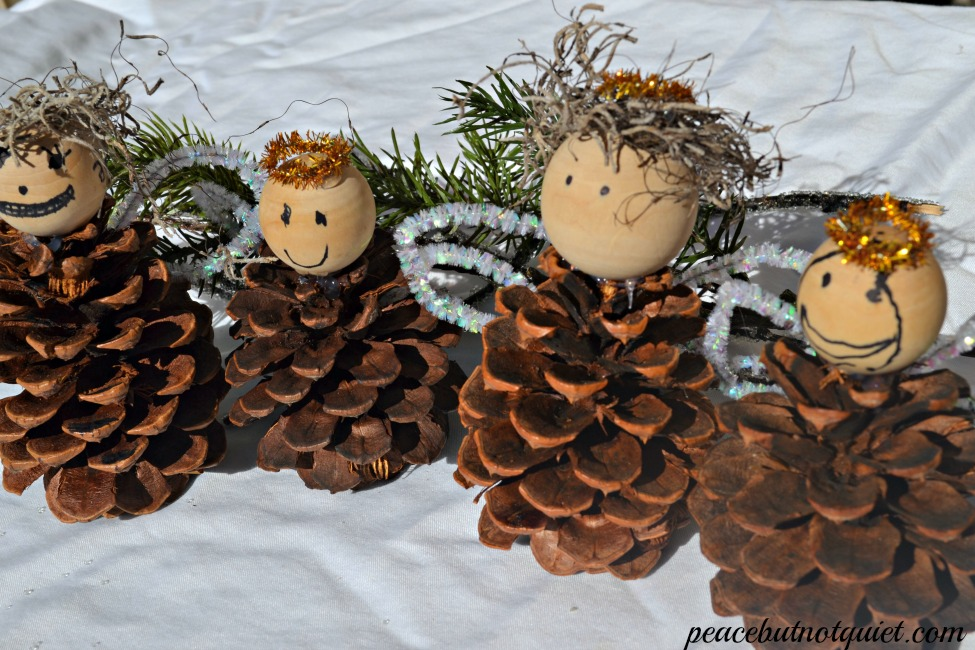 christmas crafts for kids make these pinecone angels. Black Bedroom Furniture Sets. Home Design Ideas